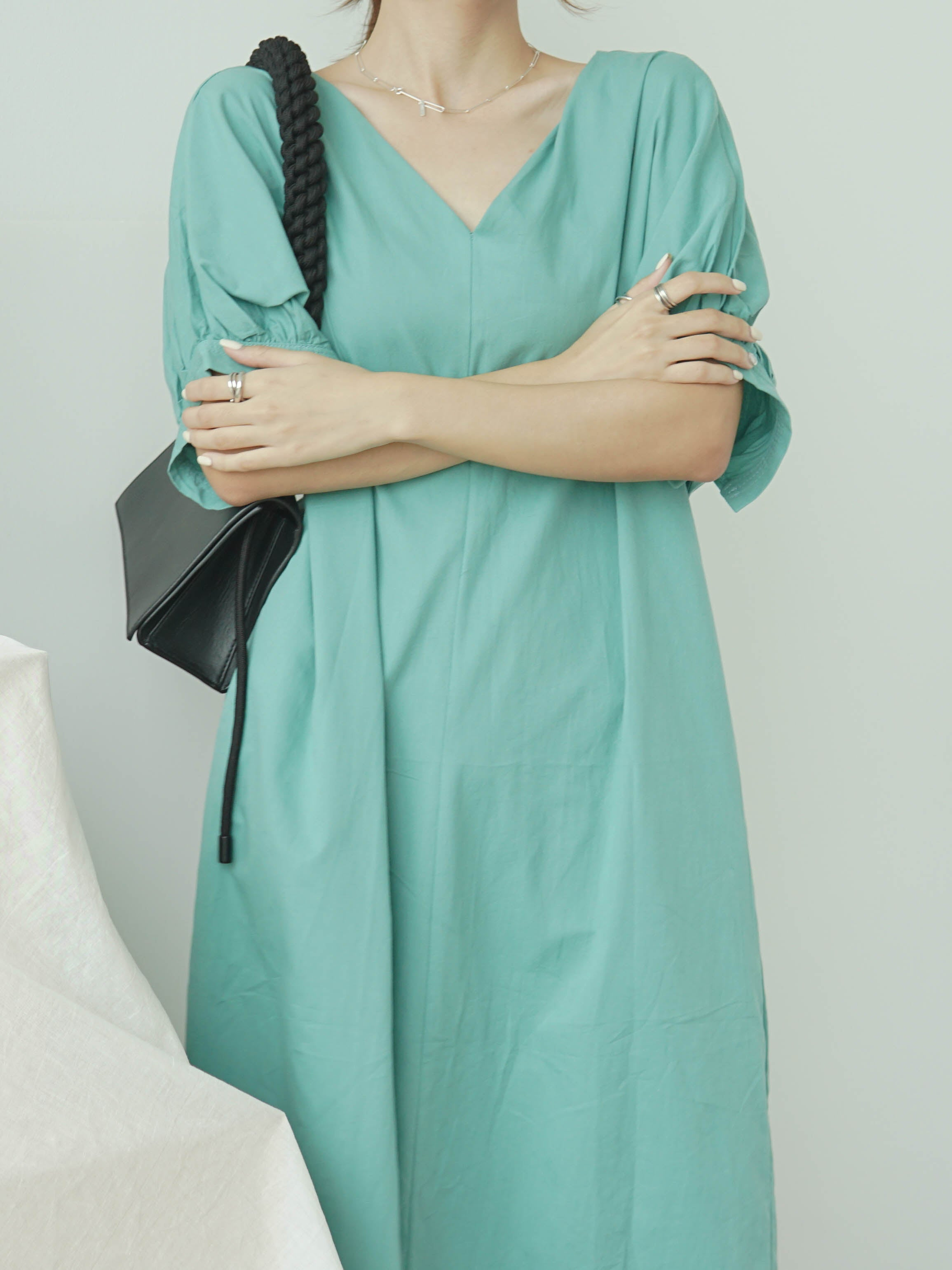 Loose back split long short sleeve dress in green