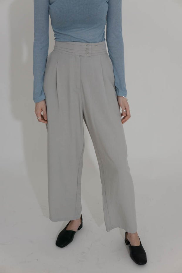 High waist wide leg pants light green