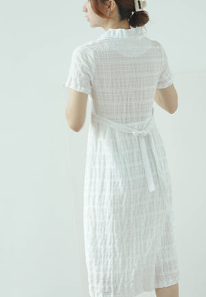 Vintage lapel pleated texture short sleeve dress