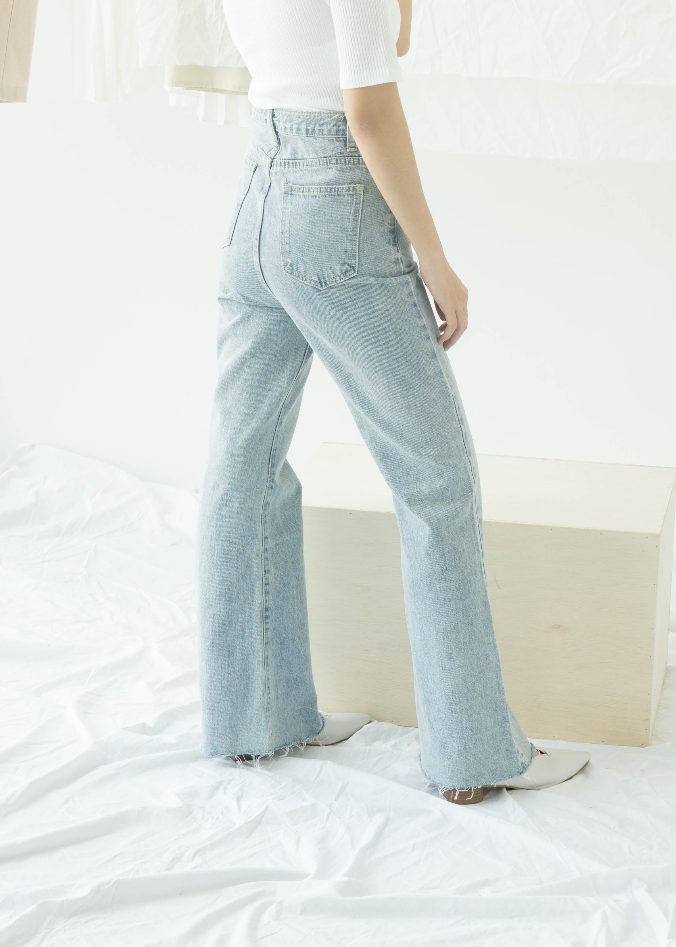 High waist straight pants