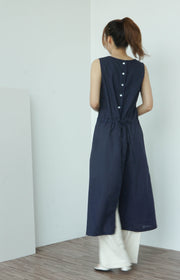 Linen sleeveless dress with back button