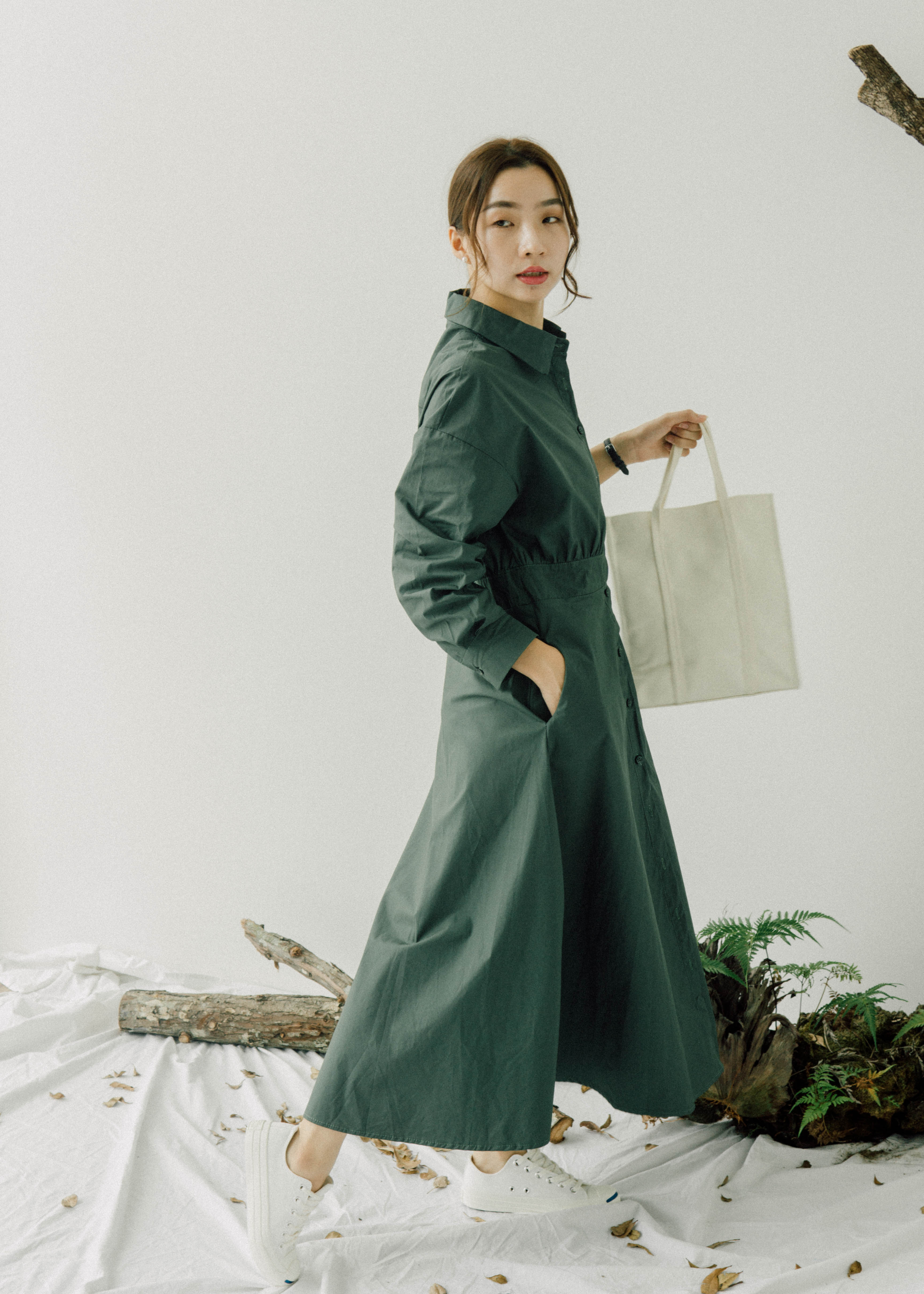 Waist slim shirt long sleeve dress in green