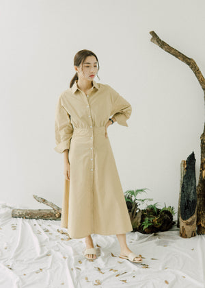 Waist slim shirt long sleeve dress in almond