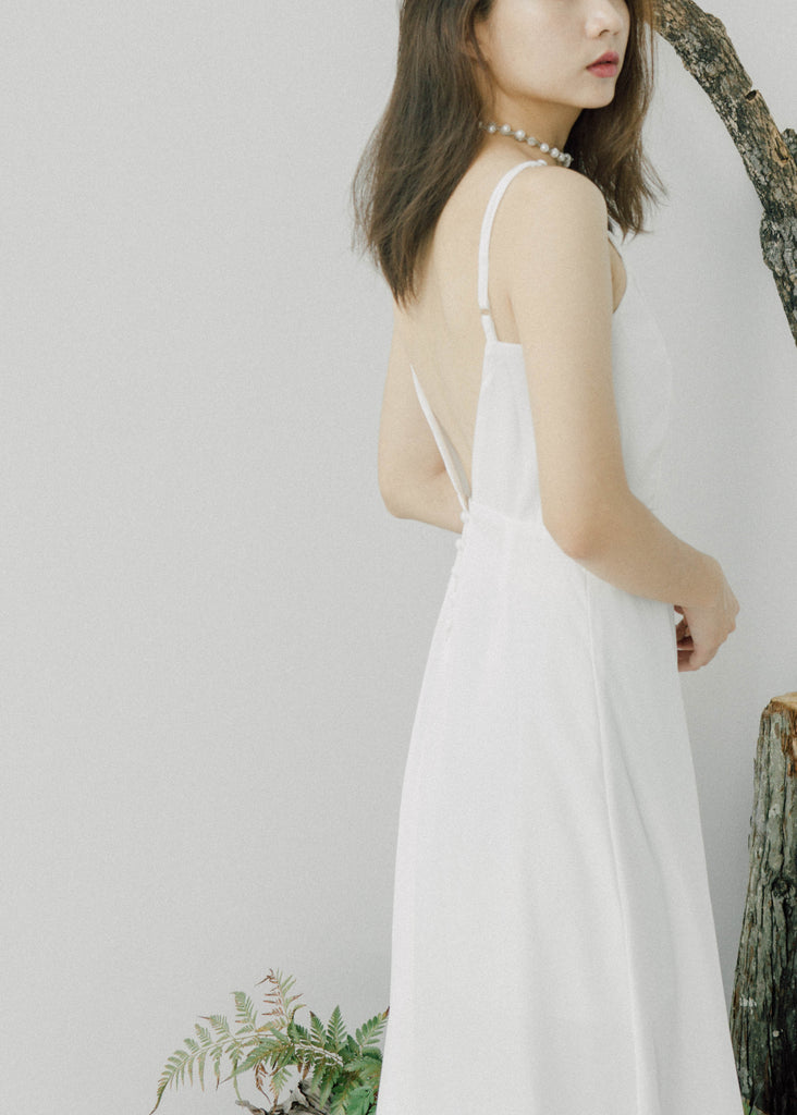 Sexy open back waist white dress