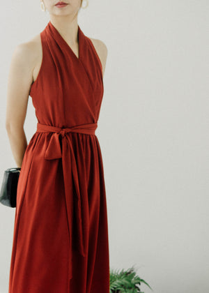Vintage halter sleeveless high waist red mid-length dress