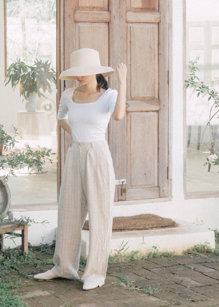 Striped slim wide-leg pants
