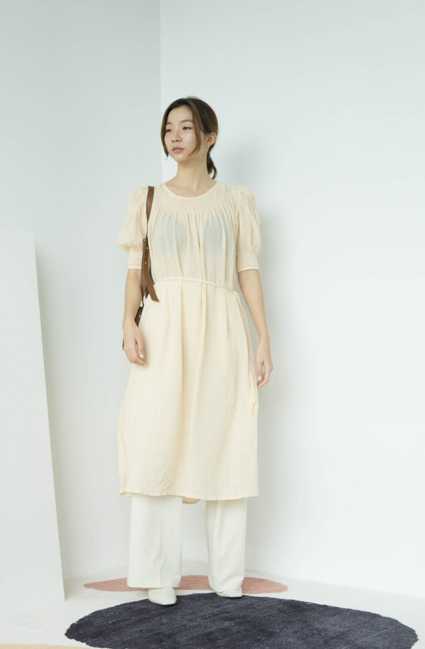 Fairy long lace-up waist short-sleeved dress in almond