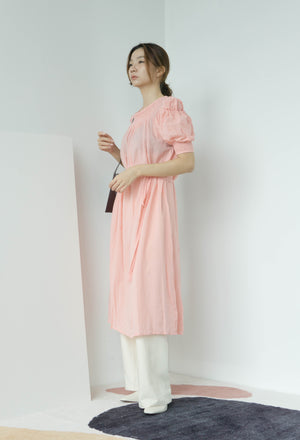 Fairy long lace-up waist short-sleeved dress in pink