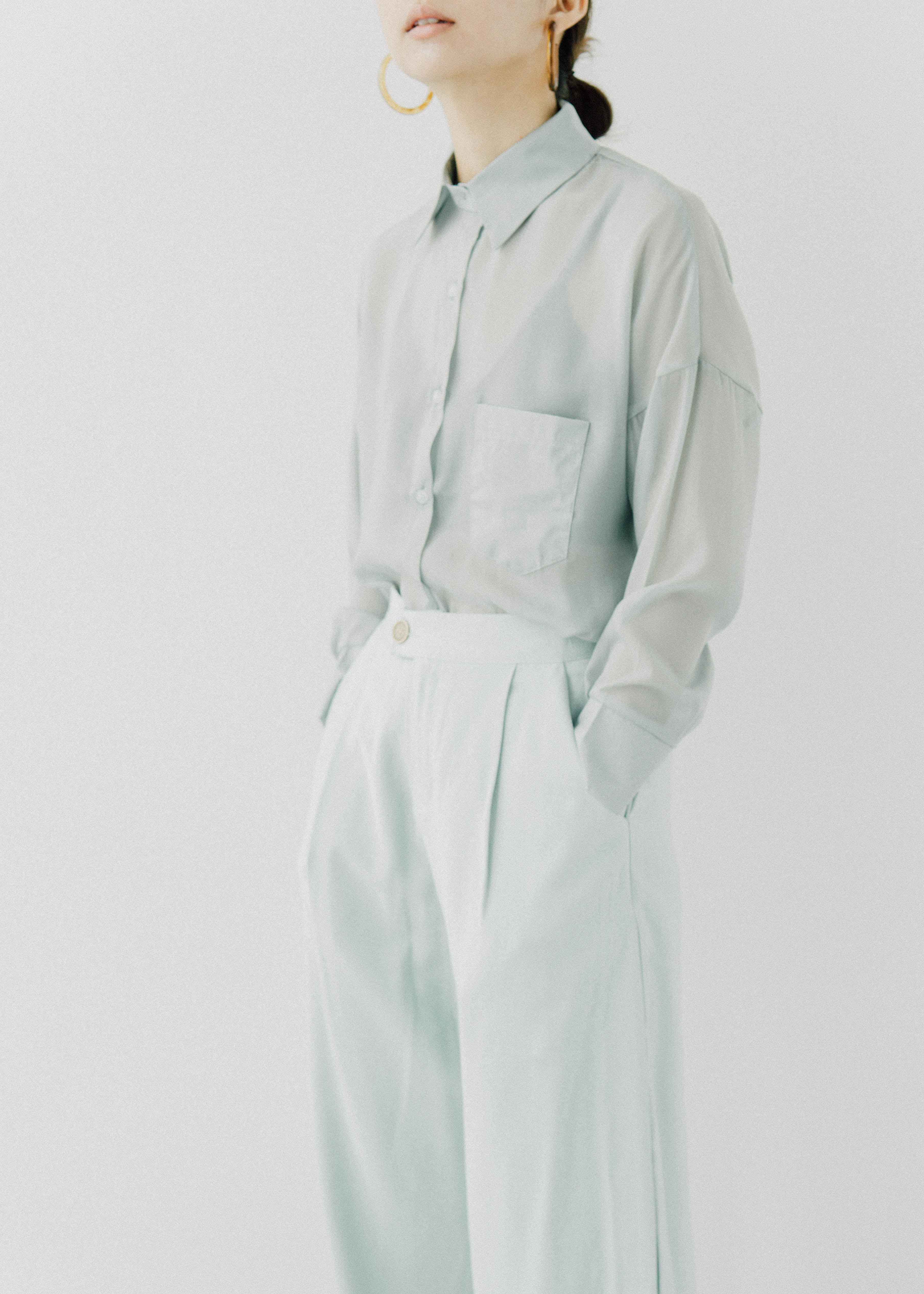 Loose fall feeling wide leg trousers suit pants in mint green