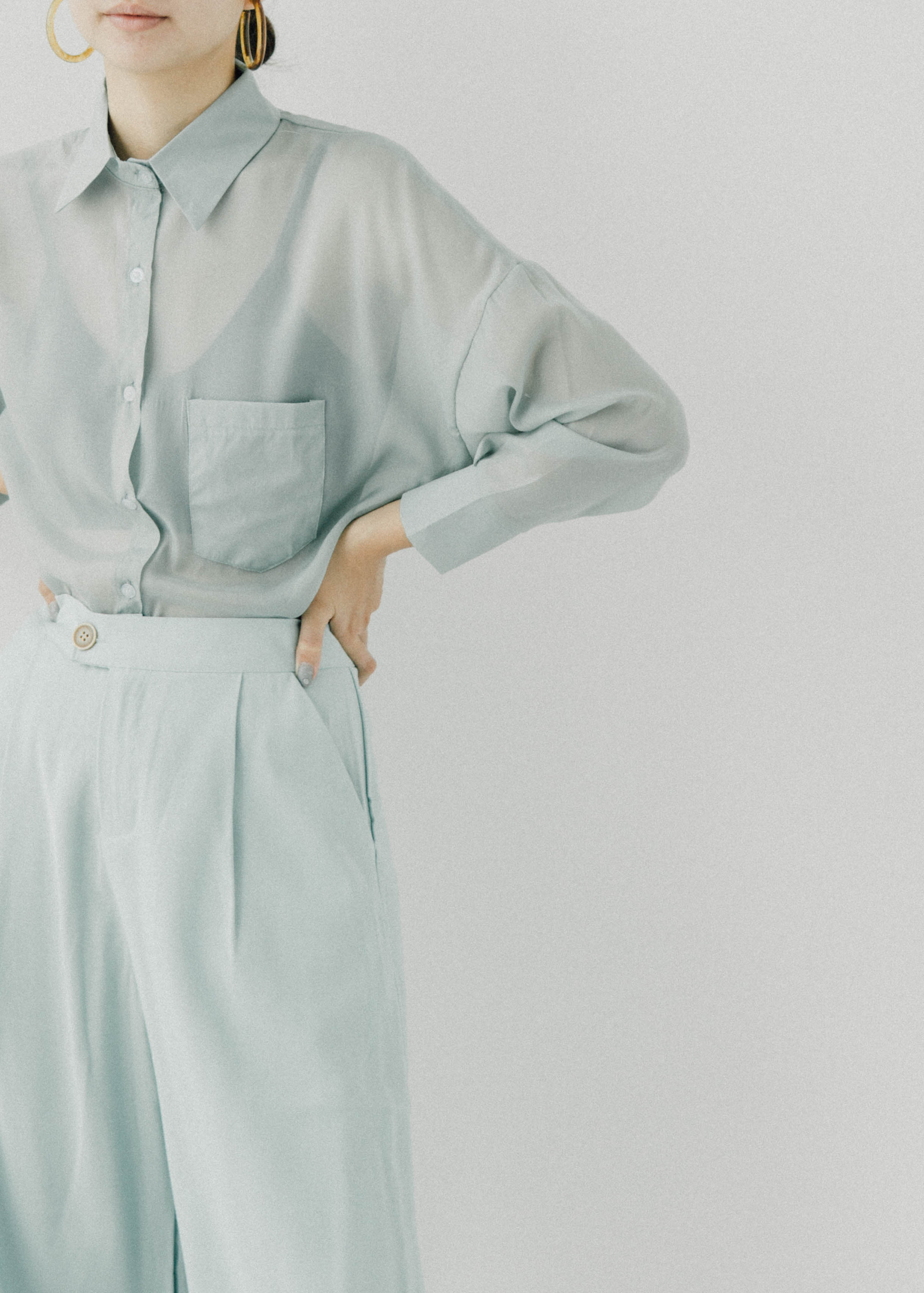 Loose sun protection shirt coat in mint green