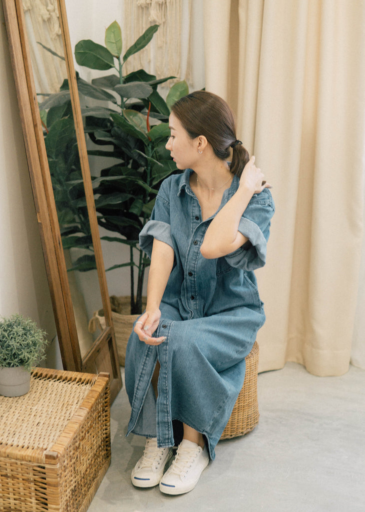 Denim Mid-length short-sleeved skirt