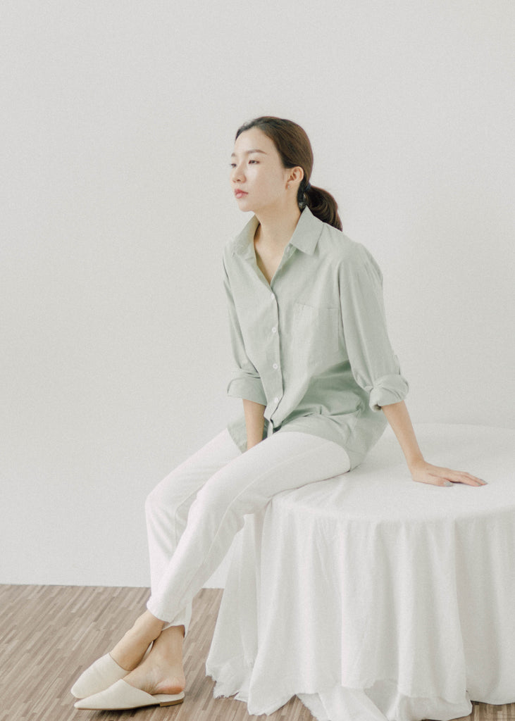 Single-breasted lapel long sleeve shirt top in kiwi green