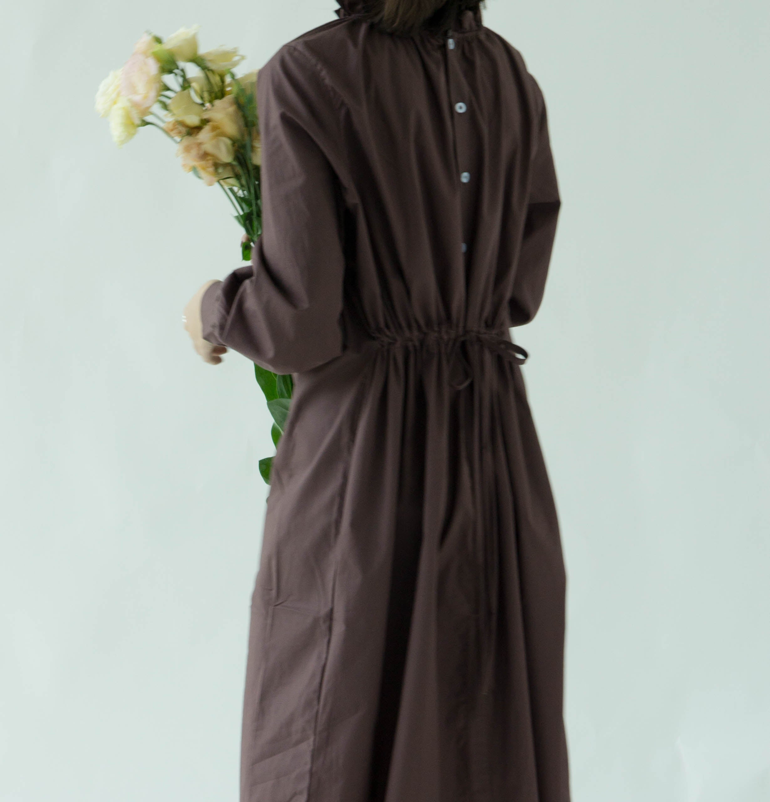 Front and back shirt dress in brown