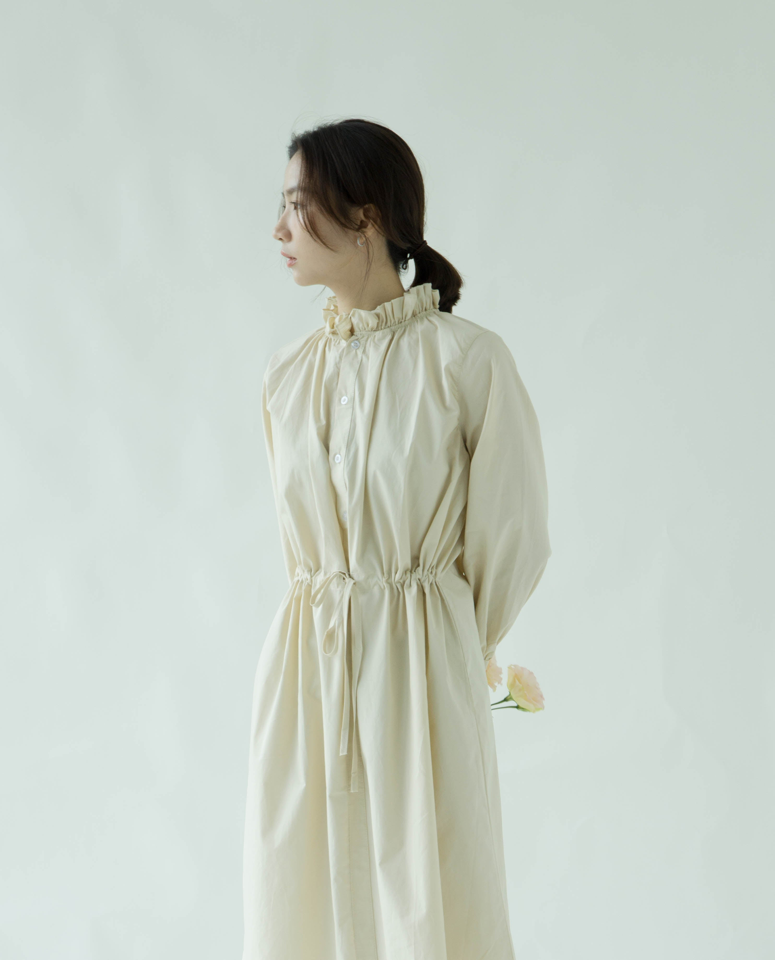 Front and back shirt dress in almond