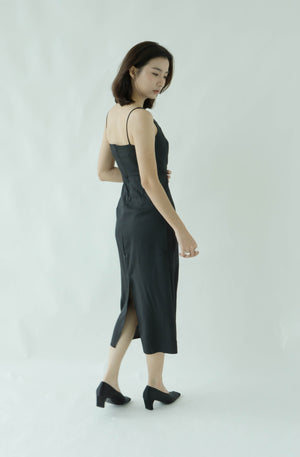 High waist off-shoulder split long skirt in classic black