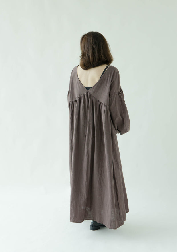 Cotton and linen lace V-neck dress