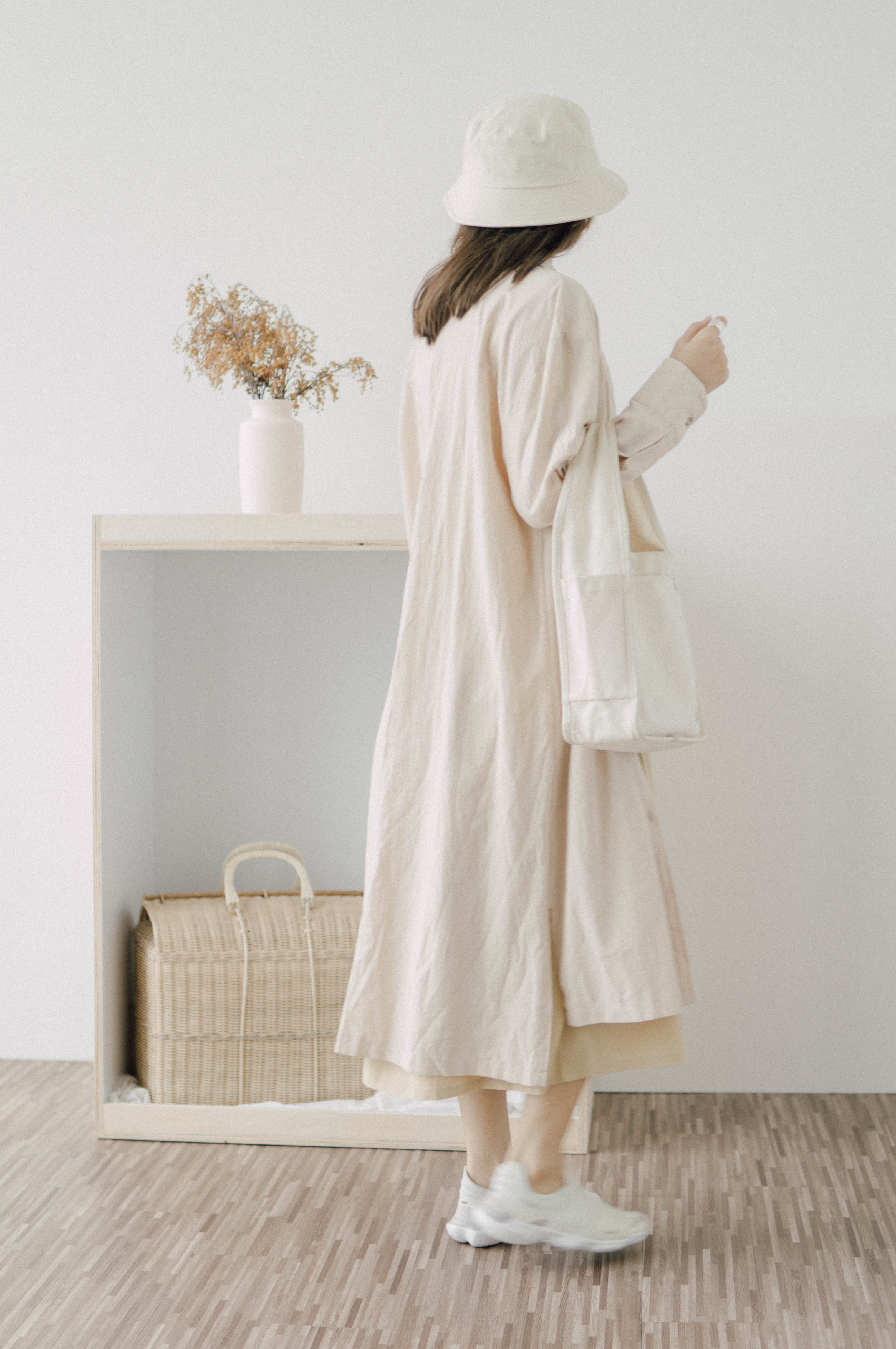 Single breasted long sleeved dress in almond