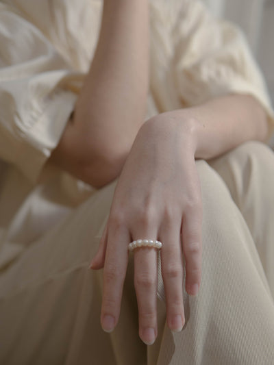 Ἀφροδίτη Baroque mini pearl ring(5mm)