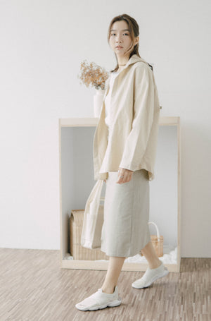Hooded trench coat in almond