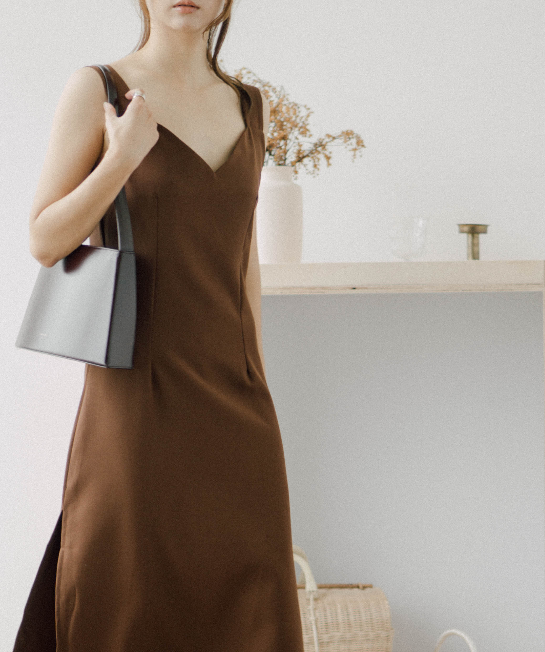 Side slit halter dress in brown