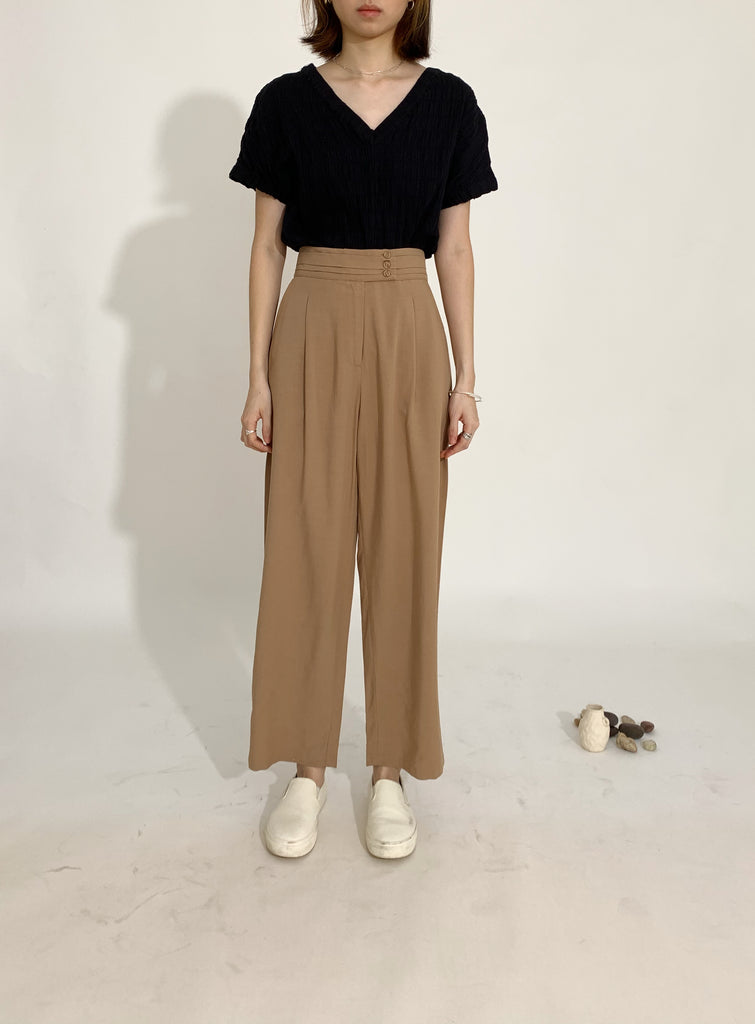 High waist wide leg pants coffee color
