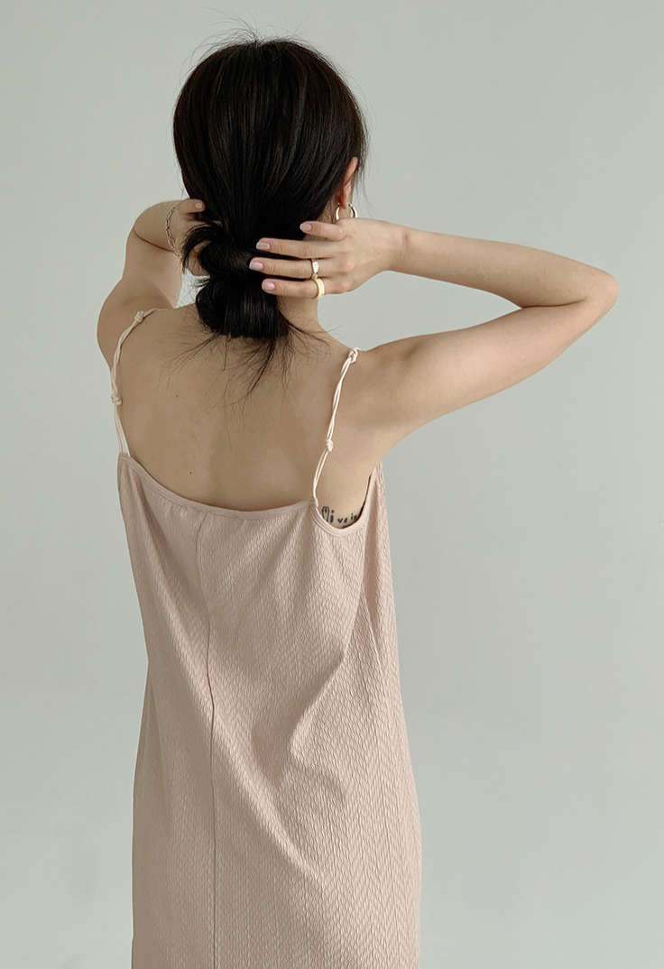 Knotted wild slim sleeveless dress in nude pink