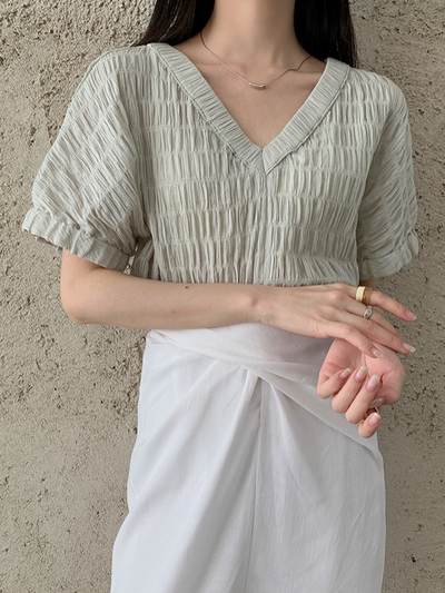 Pleated V-neck top in mint green