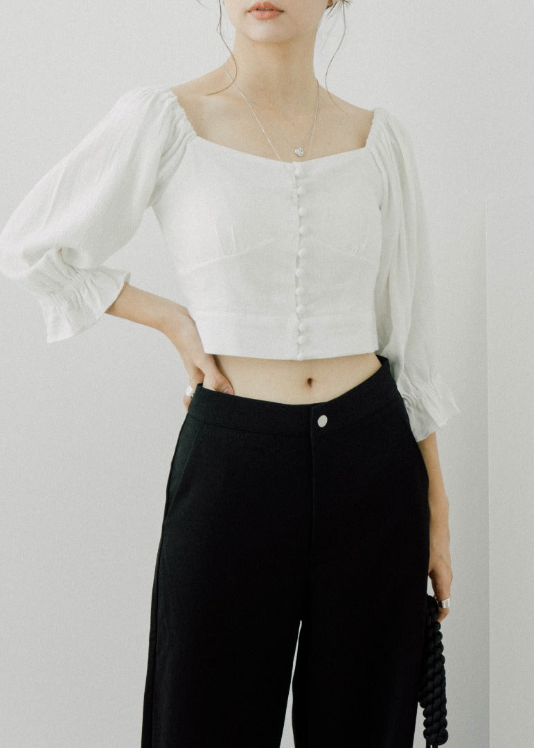 Short Buttoned Shirt in white