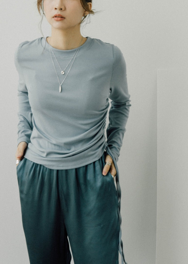 Modal round neck drawstring pleated long sleeve T-shirt in blue