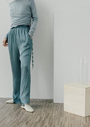Elastic waist wide leg trousers in blue