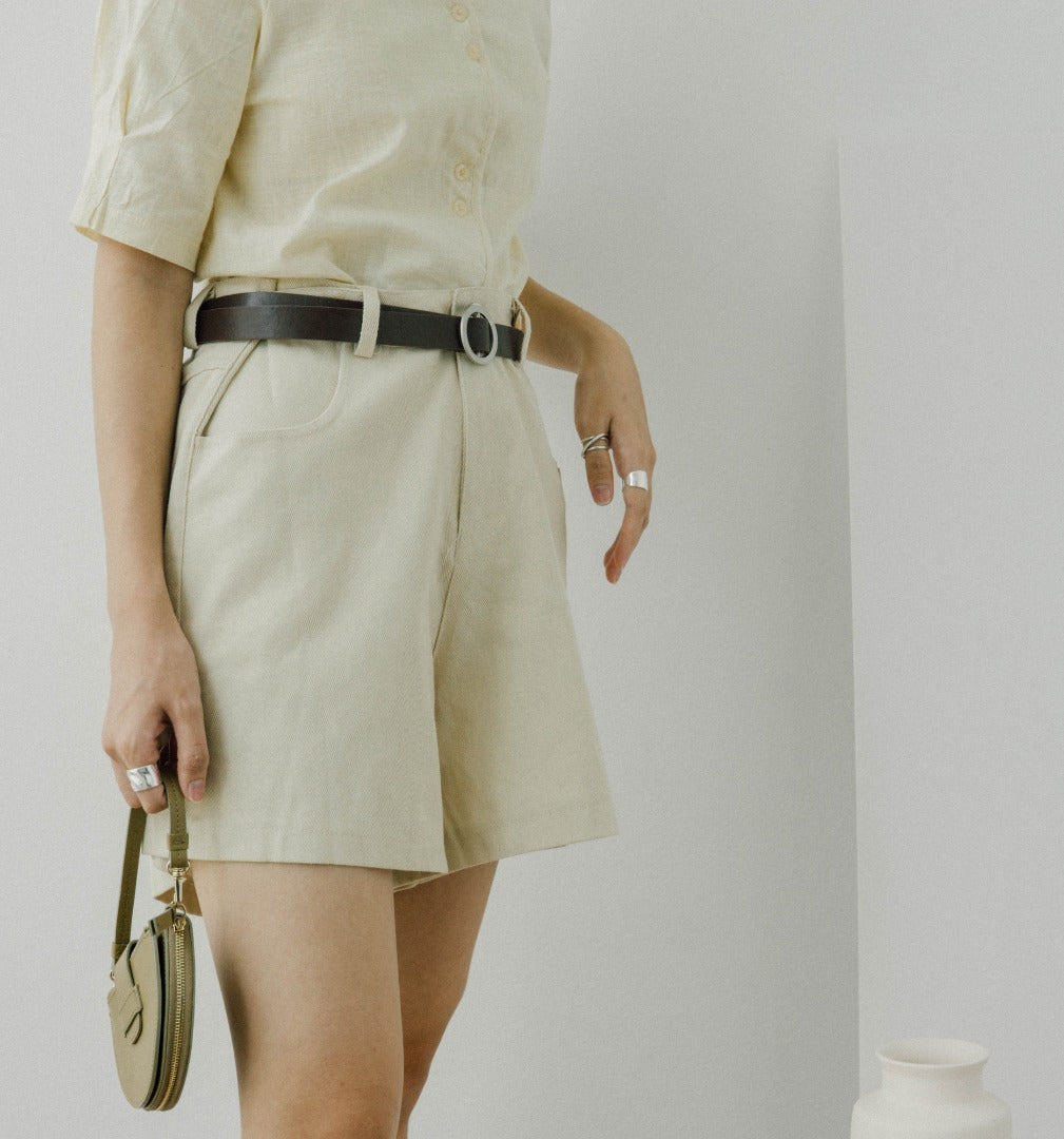 Straight slacks in khaki