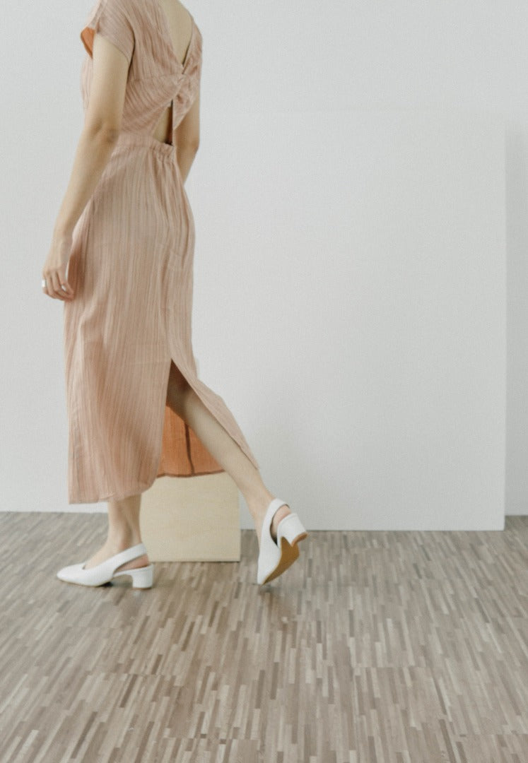 Open back dress in nude pink