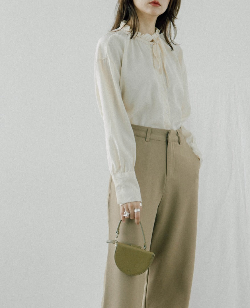 Long sleeve shirt with fungus stitching in almond