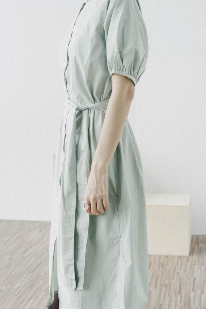 short sleeve dress in mint green