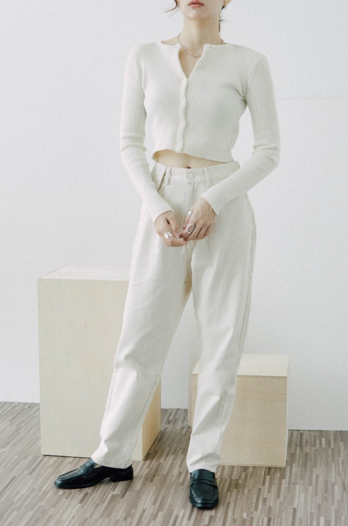 Small pocket high waist cotton straight-leg casual trousers in almond