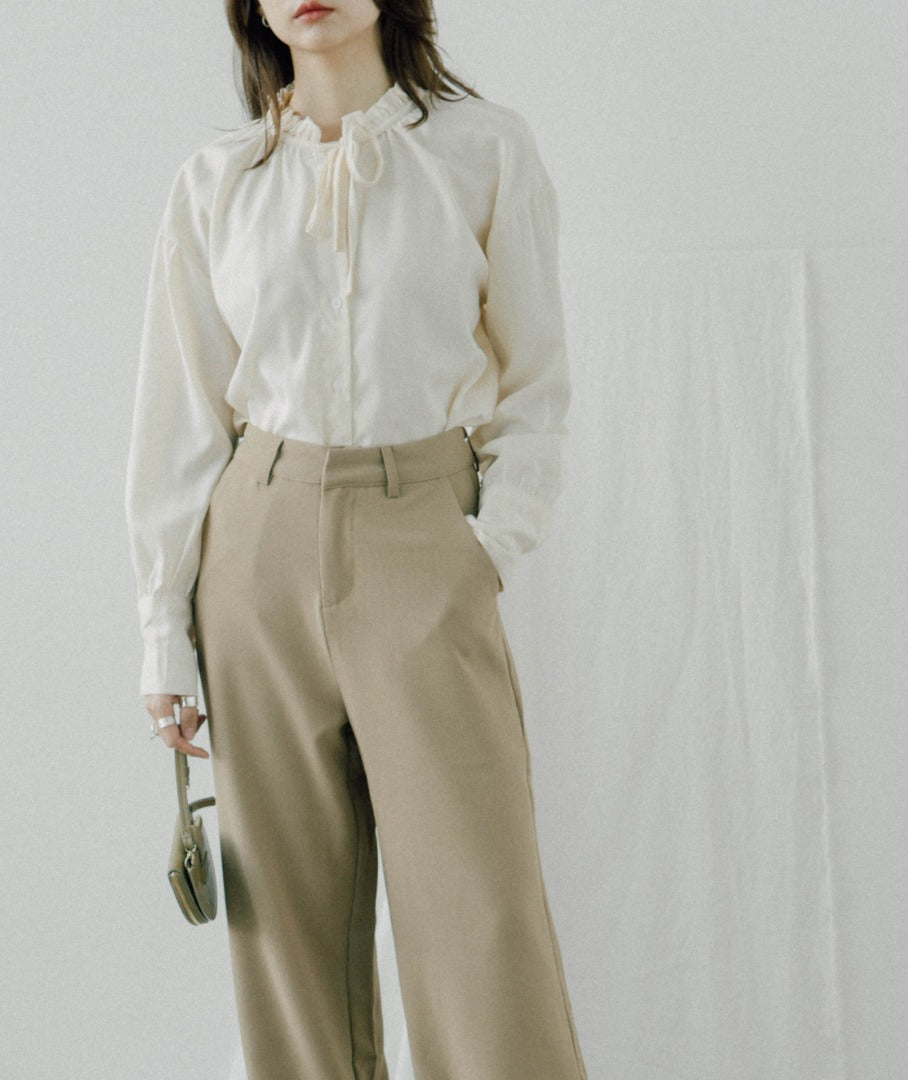 High waist wide leg suit trousers in khaki