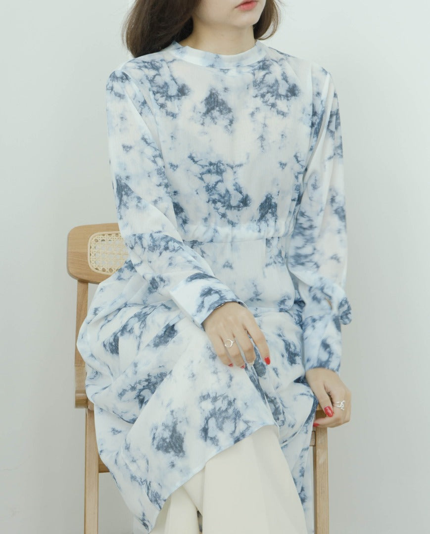 Tie-dye splashed ink chiffon long-sleeved blouse