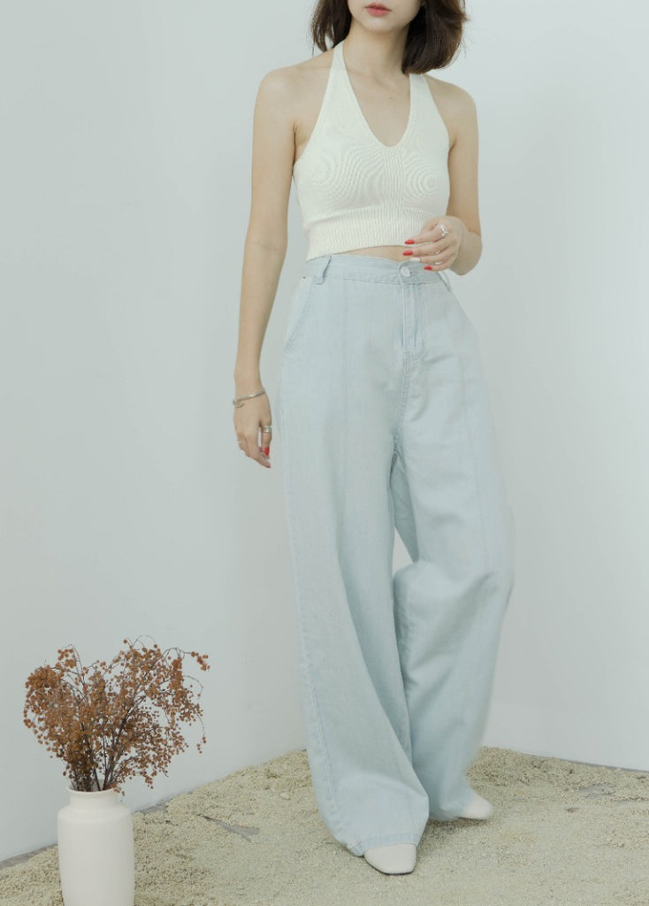 Straight pants light color high-rise wide-leg jeans