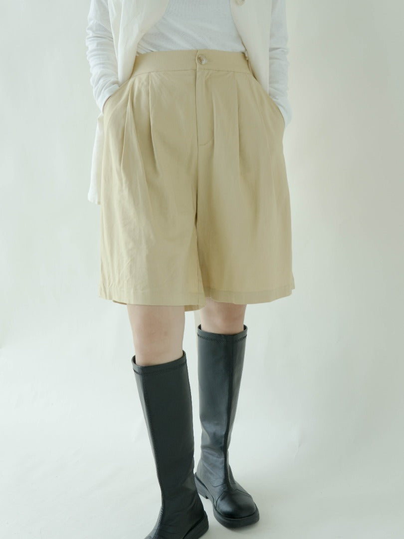 High waist casual straight pants in khaki