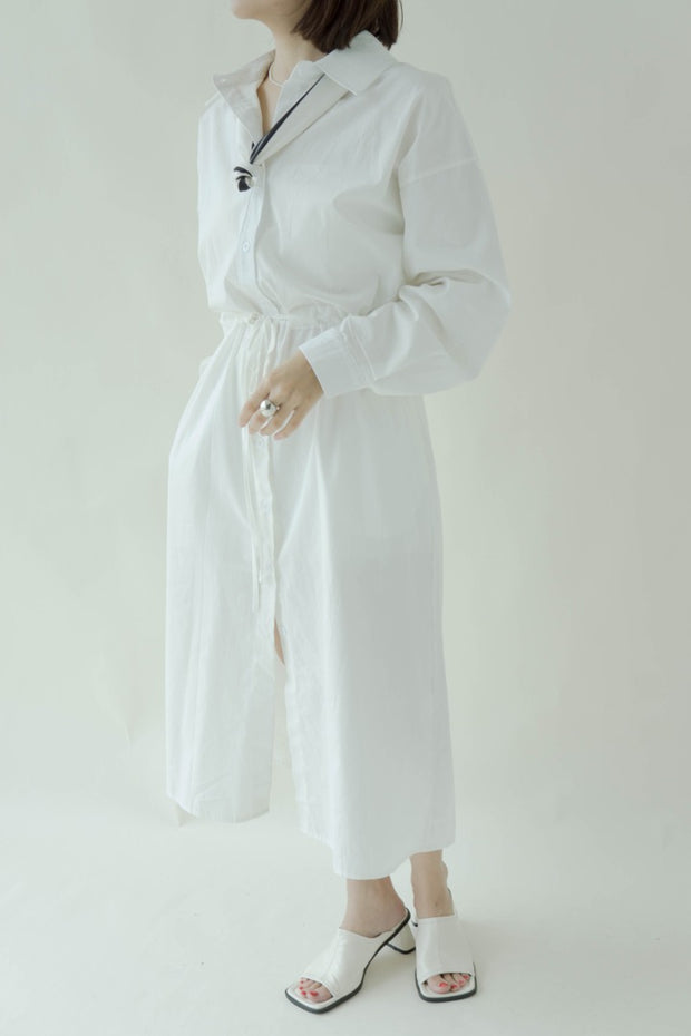 Waist long sleeve shirt dress