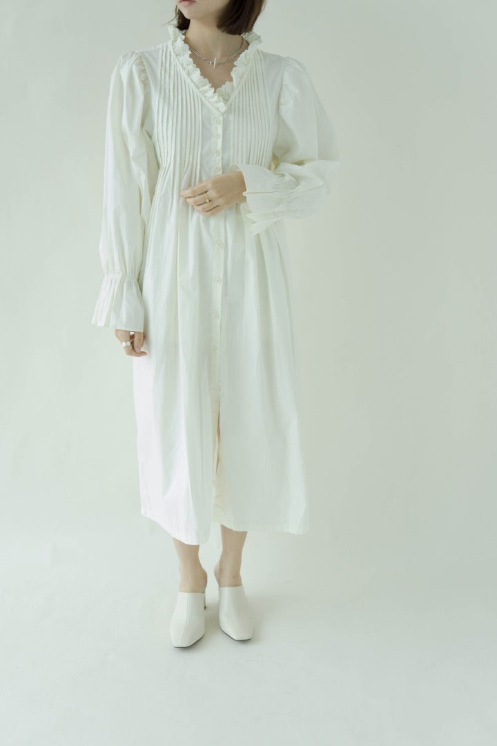V-neck loose and lazy mid-length long-sleeved dress