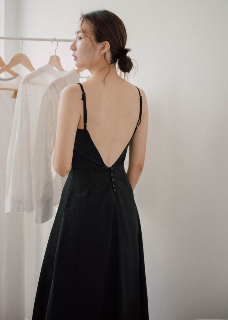 Sexy open back waist dress in classic black