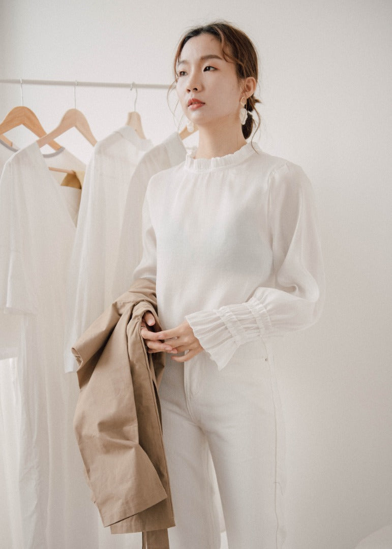 Shiny shirt with translucent flare sleeves in white