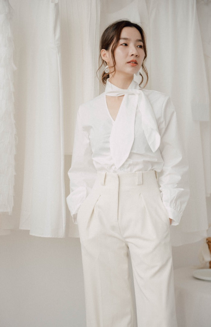 High waist draped wide leg pants in cream white