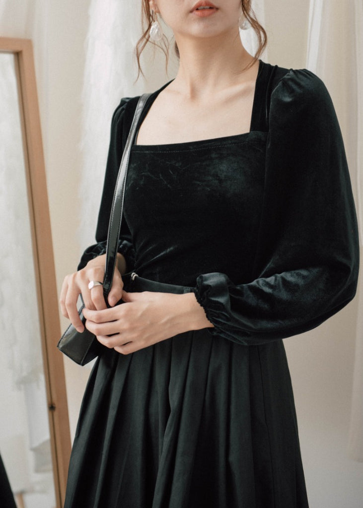 Square Collar Puff Sleeve Slim Thin Velvet Long Sleeve T-Shirt