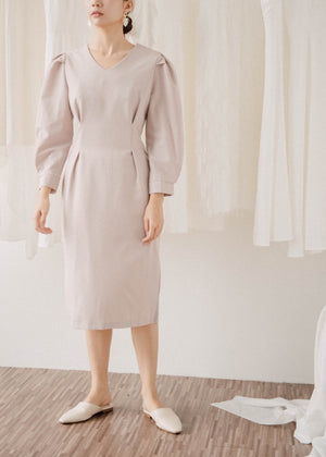 Retro V-Neck Hip Long Sleeve Dress