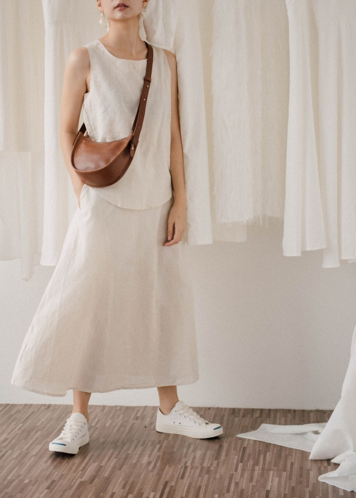Cotton and linen top + skirt in almond