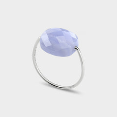 Morganne Bello 18ct white gold cushion blue lace agate ring