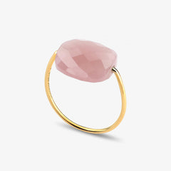 Morganne Bello 18ct yellow gold cushion pink guava quartz ring