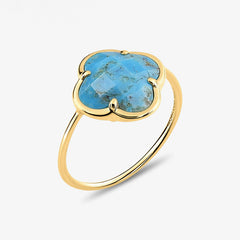Morganne Bello 18ct yellow gold Victoria clover turquoise corset ring